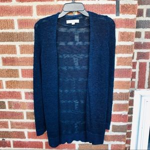 Loft Navy open Front Front Knit Cardigan Sweater